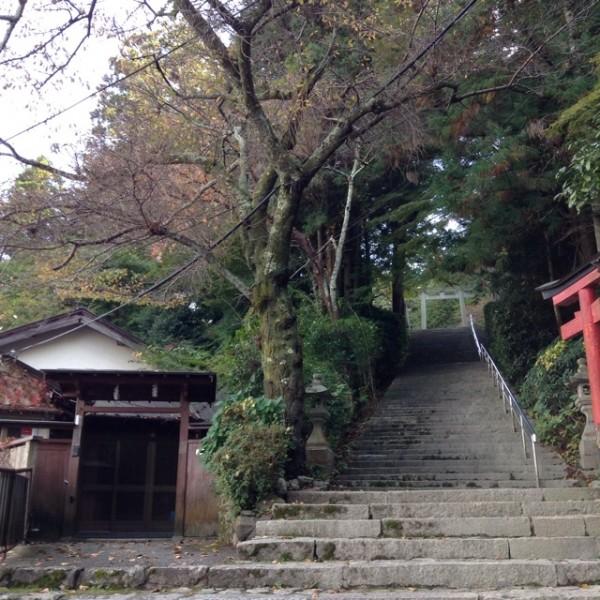 階段を登った上に神社があります